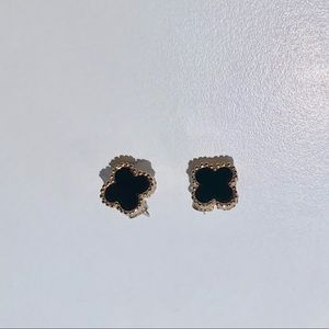 Black Clover Gold-Tone Stud Earrings